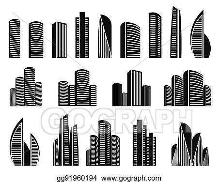 Vector Stock - Isolated black and white color skyscrapers in