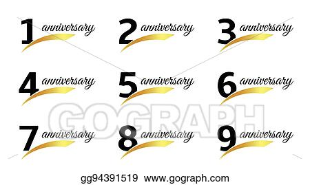 isolated black color numbers with word anniversary icons set greeting card elements collection vector illustrations