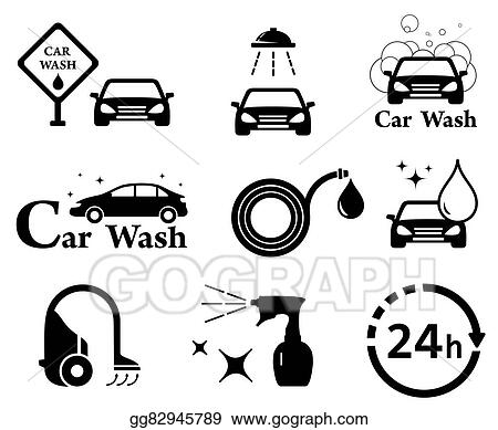Vector Stock Isolated Car Wash Icons Set Clipart Illustration