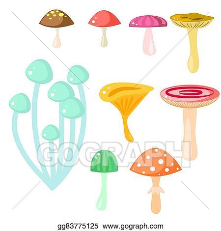Clip Art Vector Isolated Cartoon Mushrooms Vector On White