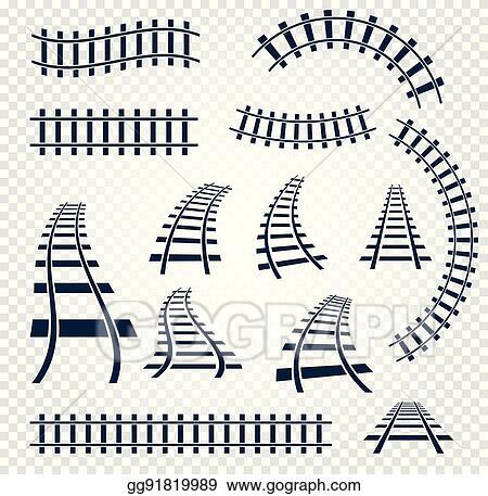 vector illustration isolated curvy and straight rails set railway