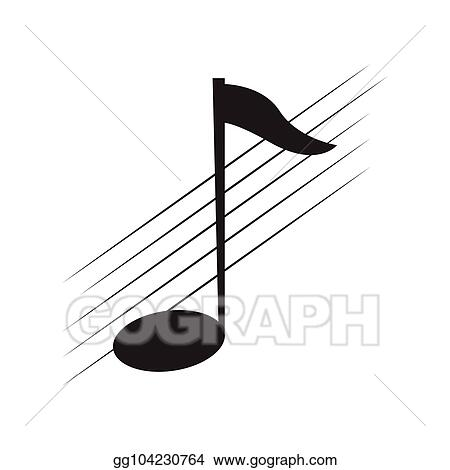 Vector Stock - Isolated eighth note on a pentagram  Clipart