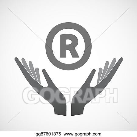 Eps Illustration Isolated Hands Offering Icon With The Registered