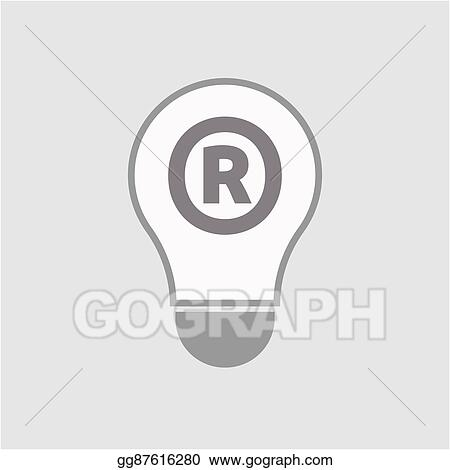 Vector Stock Isolated Line Art Light Bulb Icon With The Registered