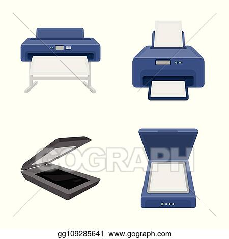 vector art isolated object of printer and plotter logo set of printer and machine stock vector illustration clipart drawing gg109285641 gograph https www gograph com clipart license summary gg109285641