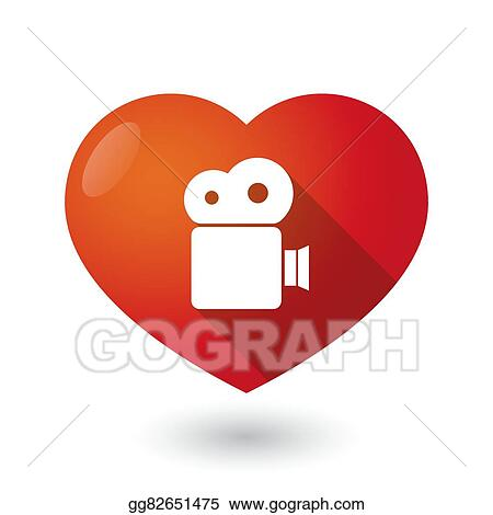 Vector Art Isolated Red Heart With A Film Camera Clipart Drawing
