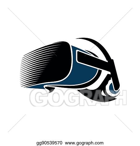 742705cbad2 Isolated vr headset logotype on white background. Black color virtual  reality helmet logo. Head-mounted display icon. Modern gaming device.
