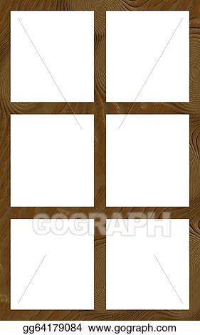Stock Illustration - Isolated window frame 6w flat. Clipart Drawing ...