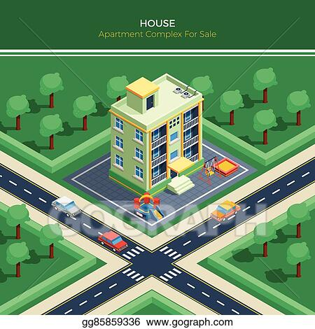 Isometric City Landscape With Apartment House