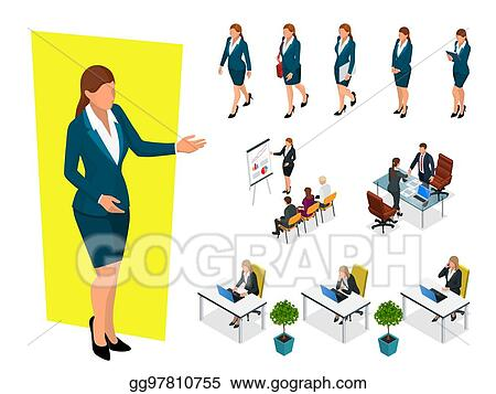 EPS Illustration - Isometric elegant business women in