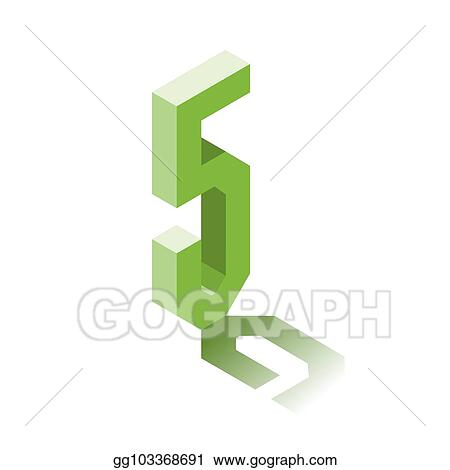 Vector Art - Isometric five green icon, 3d character with