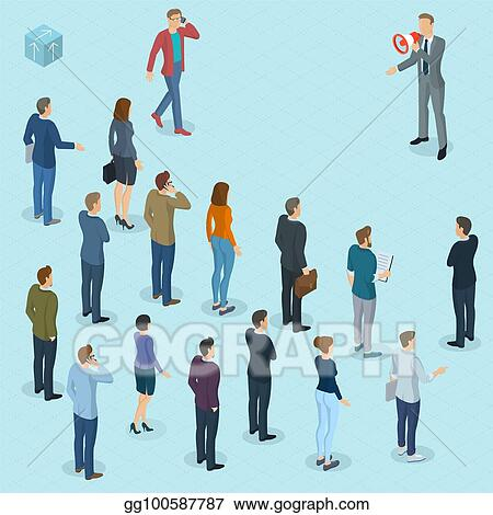 Vector Art - Isometric fpeople with loudspeaker  Clipart