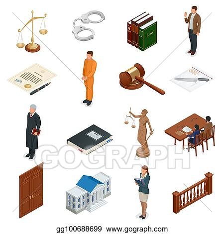 Vector Art Isometric Law And Justice Symbols Of Legal Regulations