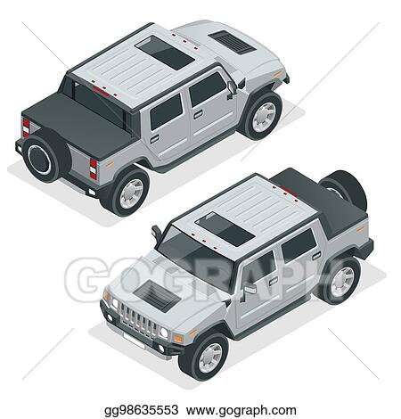 Vector Art Isometric Pickup Truck Highly Detailed Off Road