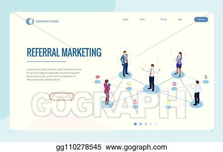 Vector Art - Isometric referral marketing, network marketing