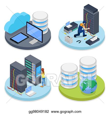 Vector clipart isometric system administrator server room data isometric system administrator server room data storage it staff vector flat 3d illustration ccuart Images