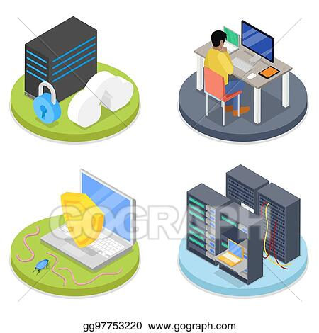 Vector stock isometric system administrator server room data isometric system administrator server room data storage network security vector flat 3d illustration ccuart Images