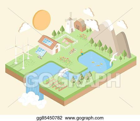 Clip Art Vector Isometric Village Country City Eco Green