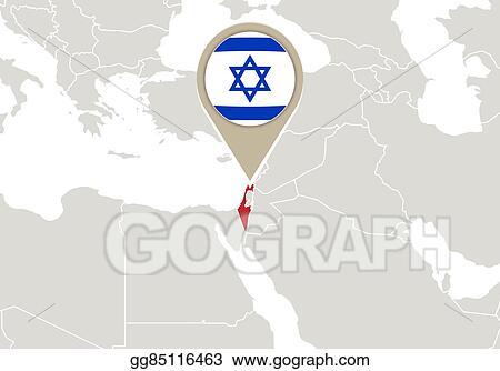 Vector Illustration Israel On World Map Eps Clipart Gg85116463