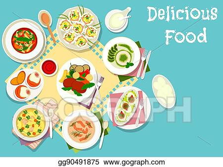 Italian And French Cuisine Lunch Dishes Icon