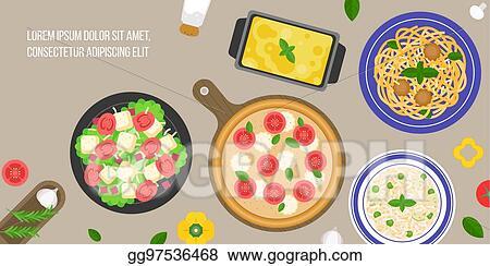 Italian Cuisine Caesar Salad Margarita Pizza Risotto Rice Lasagna Bologna Pasta Flat Design Vector In Aerial View
