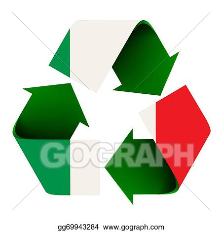 Stock Illustration Italian Flag On A Recycle Symbol Stock Art