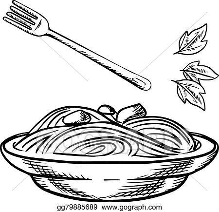 Vector Art Italian Pasta With Meatball Sauce And Basil