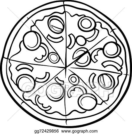 vector illustration italian pizza cartoon coloring page stock rh gograph com pizza party clipart black and white pizza slice clipart black and white