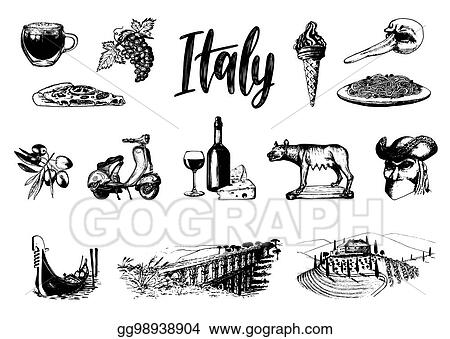 Vector Art Italian Set Of Sketches Hand Drawn Illustrations Of