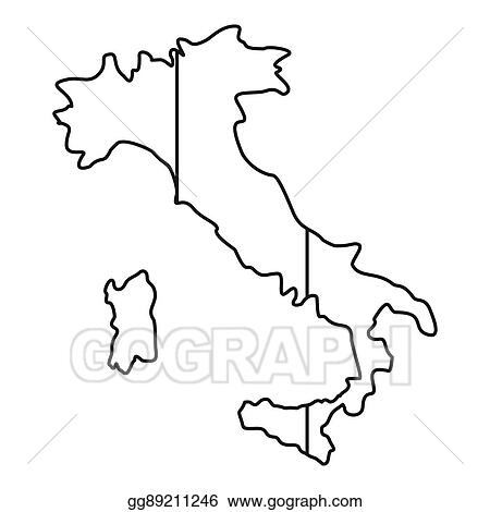 Map Of Italy Outline.Stock Illustration Italy Map Icon Outline Style Clipart