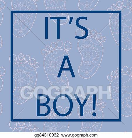 Clip Art Vector Its A Boy Card Serenity Color With Frame Stock
