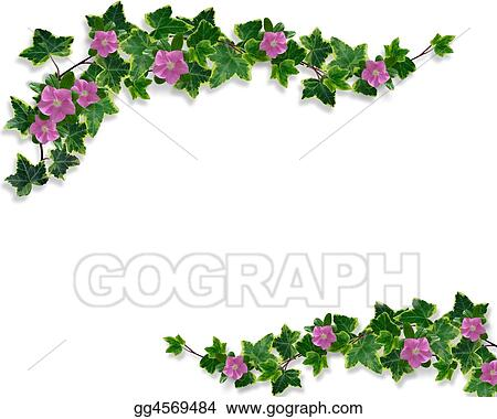 stock illustration ivy and periwinkle page border clipart drawing