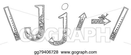 Drawings - J arrow symbol venda freehand pencil sketch font