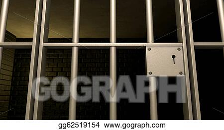 Drawing - A closeup of the lock of a brick jail cell with iron bars and a door with a locking mechanism. Clipart Drawing gg62519154 & Drawing - Jail cell door locked front. Clipart Drawing gg62519154 ... pezcame.com