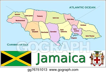 Vector Illustration - Jamaica administrative divisions. EPS Clipart ...