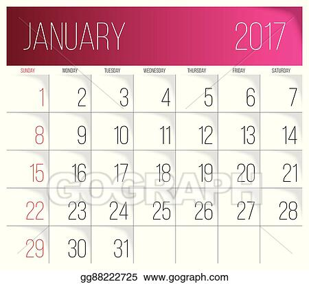 eps vector january 2017 calendar template stock clipart