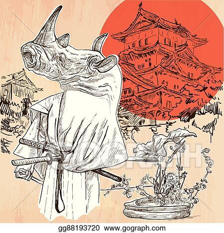 Vector Illustration - Japan  samurai rhino  an hand drawn