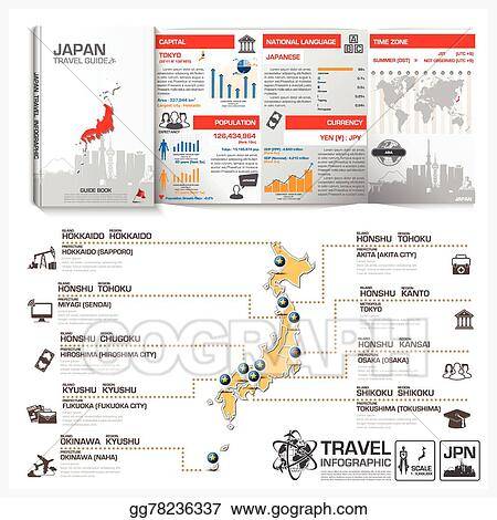 Vector Illustration Japan Travel Guide Book Business Infographic - Japan map travel guide