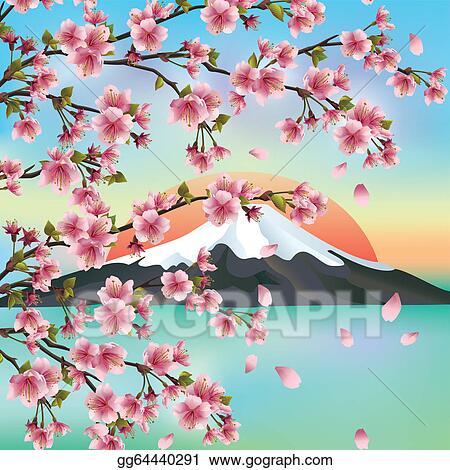vector art japanese background with japanese cherry tree sakura