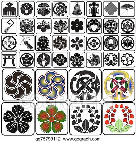 Vector Art Japanese Crests Set B4 Clipart Drawing Gg75798112