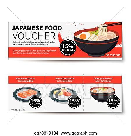 Vector Art - Japanese food voucher discount template design. Clipart ...