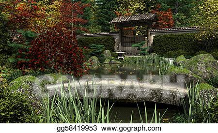 Japanese Garden And Koi Pond Autum