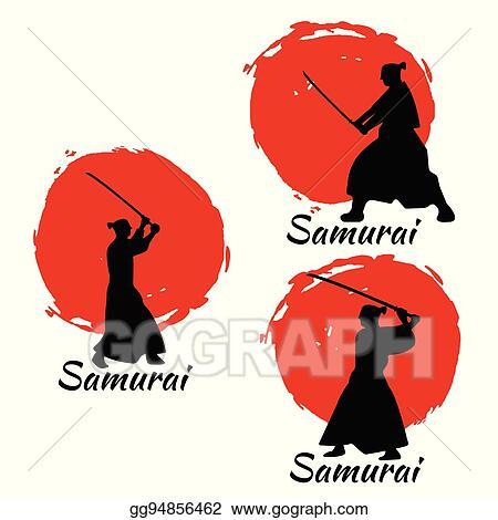 Clip Art Vector - Japanese samurai warriors silhouette  vector