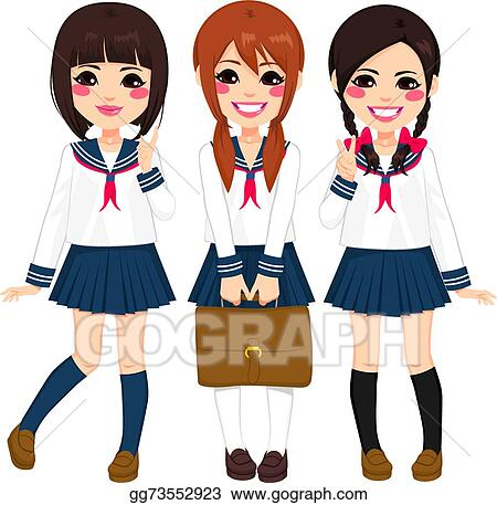 Vector Art Japanese School Girls Uniform Clipart Drawing