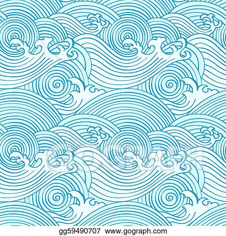 Vector Illustration - Japanese seamless waves. Stock Clip ...