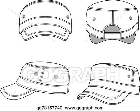Eps Vector Jeep Cap Band Outlined Template Stock Clipart