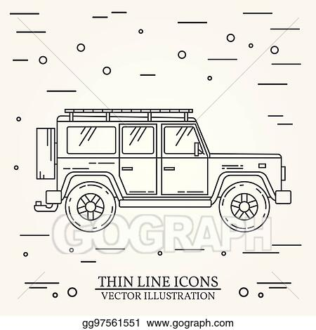 Eps Vector Jeep Thin Line Jeep Travel Grey And White Vector