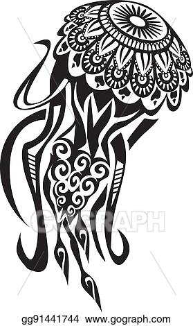 2ff0ccb78 Vector Illustration - Jellyfish tattoo in maori style. vector ...