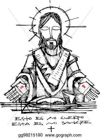 Vector Art Jesus Christ And Eucharist Symbols Illustration Eps