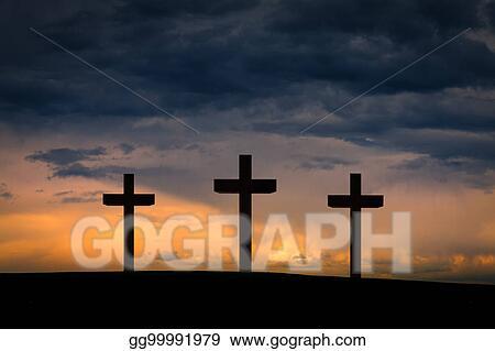 stock photos jesus christ cross on golgotha mountain calvary